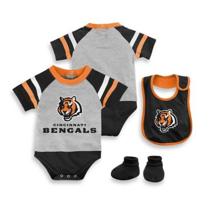 NFL Cincinnati Bengals Size 12M 3-Piece Creeper Bib and Bootie Set