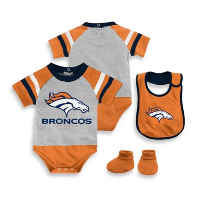 NFL Denver Broncos Size 12M 3-Piece Creeper Bib and Bootie Set