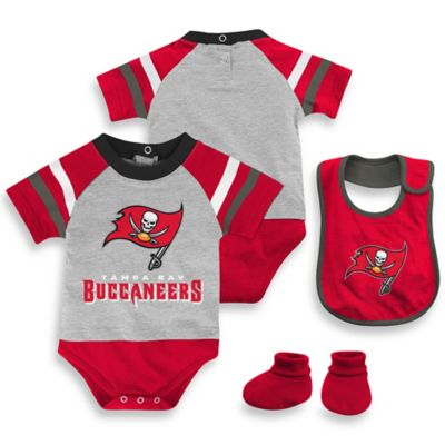 NFL Tampa Bay Buccaneers Size 6-9M 3-Piece Creeper Bib and Bootie Set