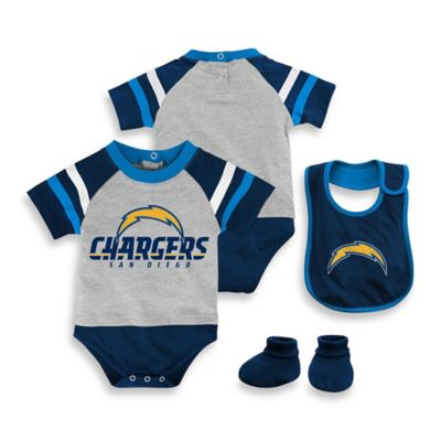 NFL San Diego Chargers Size 18M 3-Piece Creeper Bib and Bootie Set
