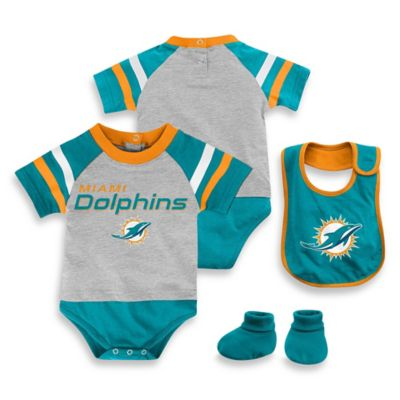 NFL Miami Dolphins Size 24M 3-Piece Creeper Bib and Bootie Set