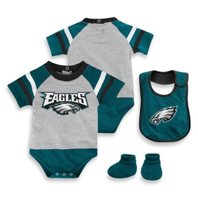 NFL Philadelphia Eagles Size 18M 3-Piece Creeper Bib and Bootie Set