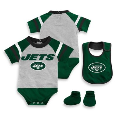 NFL New York Jets Size 18M 3-Piece Creeper Bib and Bootie Set