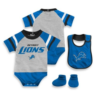 NFL Detroit Lions Size 18M 3-Piece Creeper Bib and Bootie Set