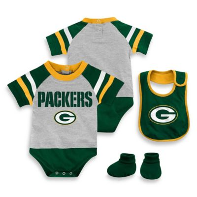NFL Green Bay Packers Size 24M 3-Piece Creeper Bib and Bootie Set