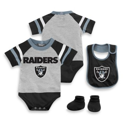 NFL Oakland Raiders Size 12M 3-Piece Creeper Bib and Bootie Set