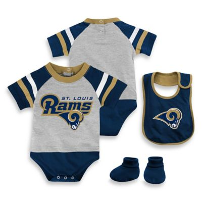 NFL St. Louis Rams Size 0-3M 3-Piece Creeper Bib and Bootie Set