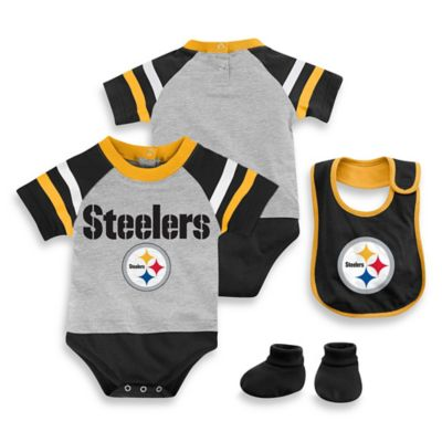 NFL Pittsburgh Steelers Size 24M 3-Piece Creeper Bib and Bootie Set