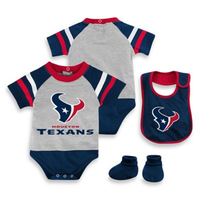 NFL Houston Texans Size 24M 3-Piece Creeper Bib and Bootie Set