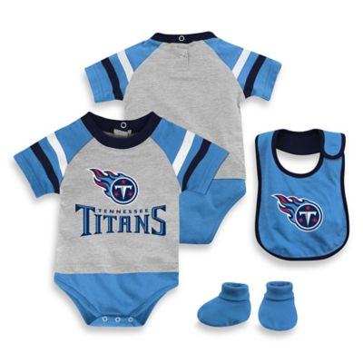 NFL Tennessee Titans Size 6-9M 3-Piece Creeper Bib and Bootie Set