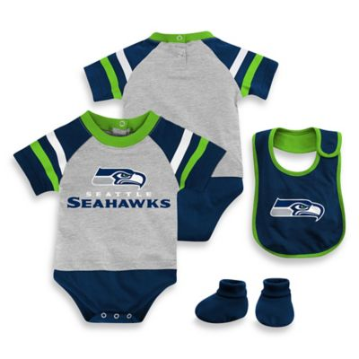 NFL Seattle Seahawks Size 24M 3-Piece Creeper Bib and Bootie Set
