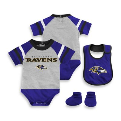 NFL Baltimore Ravens Size 12M 3-Piece Creeper Bib and Bootie Set