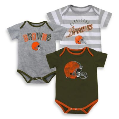 NFL Size 18M 3-Pack Cleveland Browns Bodysuit Set