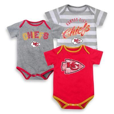 NFL Size 24M 3-Piece Kansas City Chiefs Bodysuit Set