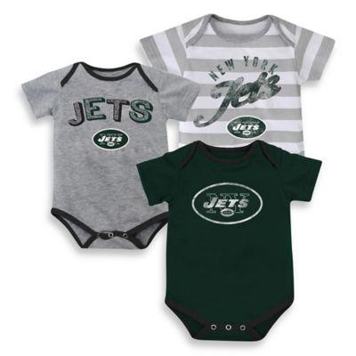 NFL Size 18M 3-Pack New York Jets Bodysuit Set