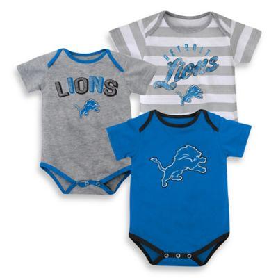 NFL Size 24M 3-Piece Detroit Lions Bodysuit Set