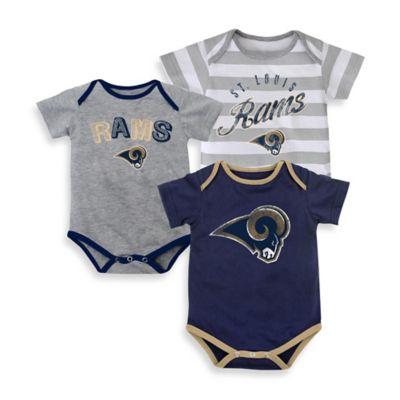 NFL Size 12M 3-Pack St. Louis Rams Bodysuit Set