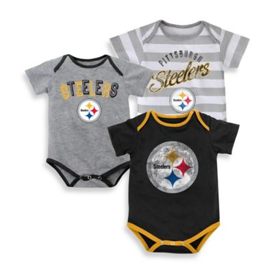 NFL Size 24M 3-Pack Pittsburgh Steelers Bodysuit Set