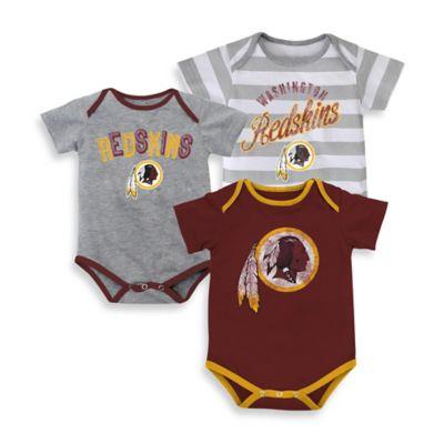 NFL Size 24M 3-Pack Washington Redskins Bodysuit Set