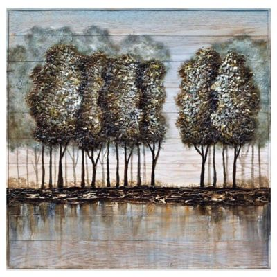 Wood and Metal Tree Oil Painting Frameless Wall Art