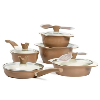 Anna Boiardi Tuscan 12-Piece Cast Aluminum Cookware Set in Brown