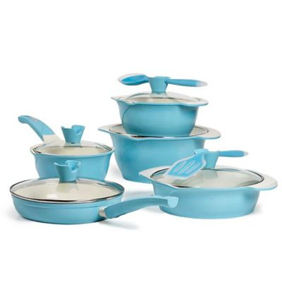 Anna Boiardi Verona 12-Piece Cast Aluminum Cookware Set in Blue
