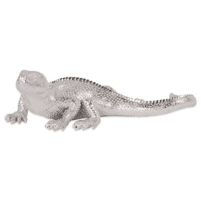 Howard Elliott Lizard Figurine in Bright Textured Nickel