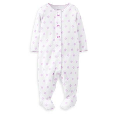 Carter's® Newborn Purple Flower Footie in White
