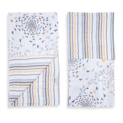 Bebe au Lait® 2-Pack Muslin Blankies in Sparrow/Vintage Stripe