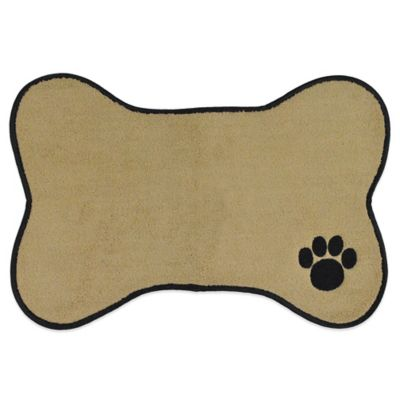 18-Inch x 12-Inch Paw Embroidered Pet Mat in Taupe