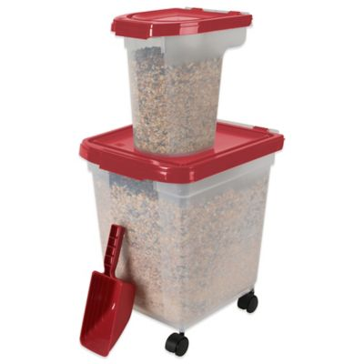 IRIS USA 3-Piece Airtight Bird Food Storage Combo Pack in Garnet