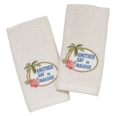 "Avanti ""Another Day in Paradise"" Fingertip Towel in Ivory (Set of 2)"