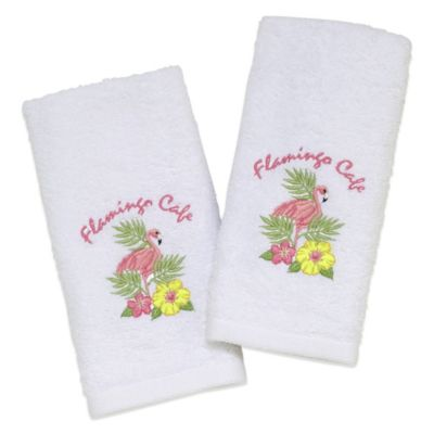 "Avanti ""Flamingo Café"" Fingertip Towel in White (Set of 2)"