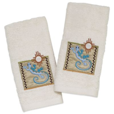 Avanti Gecko Fingertip Towel in Ivory (Set of 2)