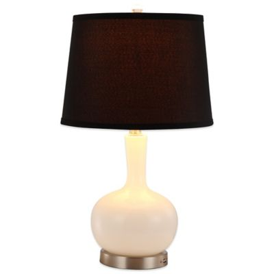 Rely-A-Light Ellen Emergency Table Lamp in White with Black Linen Shade
