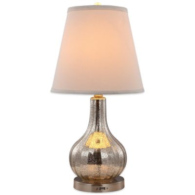 Rely-a-Light Meira Emergency Table Lamp in Mercury Glass with Natural Linen Shade