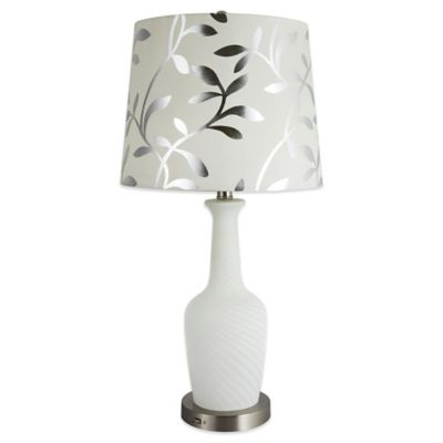 Rely-A-Light Clair Emergency Table Lamp in White with Linen Shade
