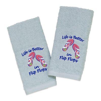 Avanti Flip Flops 2-Pack Fingertip Towels in Mineral