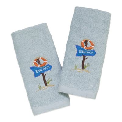Avanti Beach Sign 2-Pack Fingertip Towels in Mineral