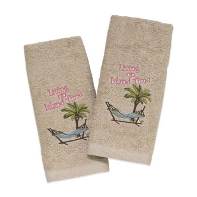 "Avanti ""Living on Island Time"" Fingertip Towel in Ivory (Set of 2)"