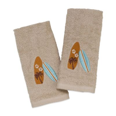 "Avanti ""Surf's Up"" Fingertip Towel in Ivory (Set of 2)"