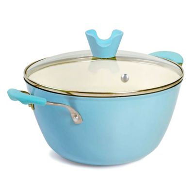 Anna Boiardi 4.4-Quart Cast Iron Covered Casserole in Blue