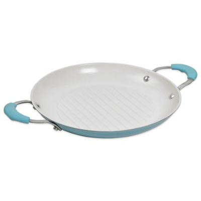 11-Inch Cast Iron Grill Pan in Blue