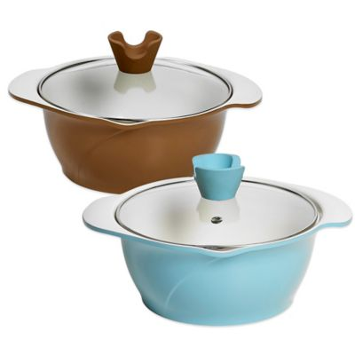 Anna Boiardi 2.37-Quart Covered Casserole with 2 Spouts in Blue