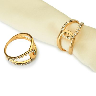 Classic Touch Goldtone Jeweled Infinity Napkin Rings (Set of 4)