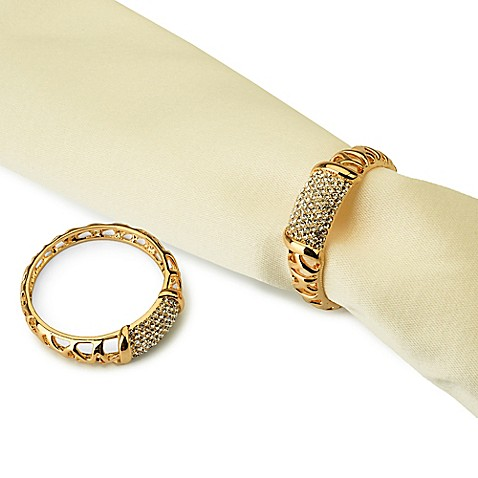Classic Touch Goldtone Jeweled Inset Napkin Rings (Set of 4)