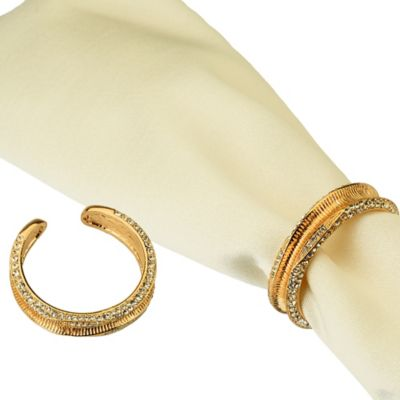 Classic Touch Goldtone Jeweled Napkin Cuffs (Set of 4)