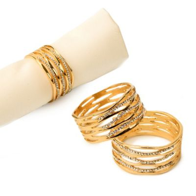 Classic Touch Goldtone Jeweled Cutout Napkin Rings (Set of 4)