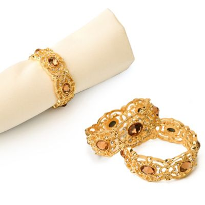 Goldtone Jeweled Napkin Rings