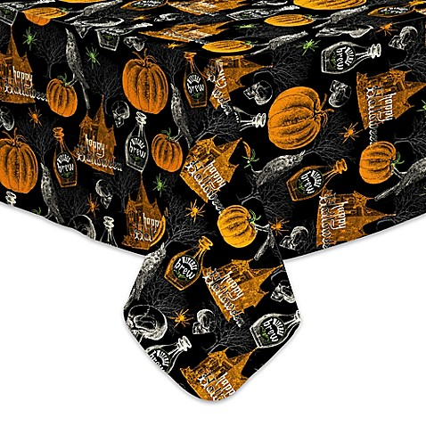 Halloween Haunting 70 Inch Round Vinyl Tablecloth Bed